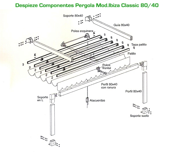 Pergolas de aluminio pergolas de aluminio ibiza 80x40 for Anclajes para toldos