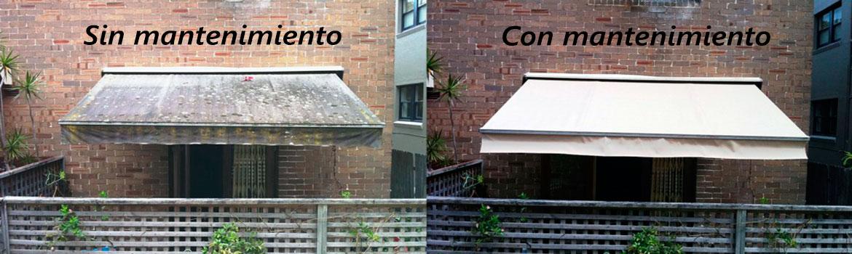 como limpiar un toldo exterior de terraza de lona muy