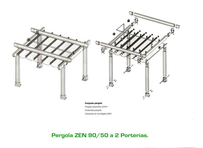Pergola zen de gaviota simbac for Herrajes de aluminio para toldos